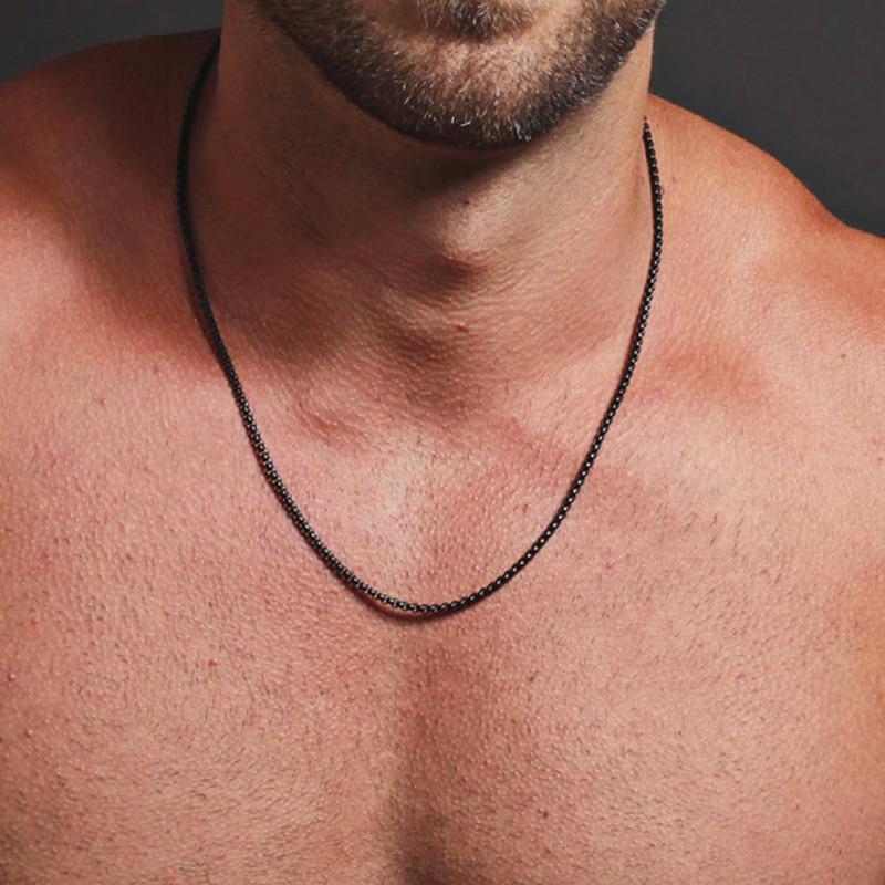 Классическая черная цепочка 2 мм в коробке, Мужская цепочка на шею из титановой стали, ювелирные изделия для мужчин, подарок