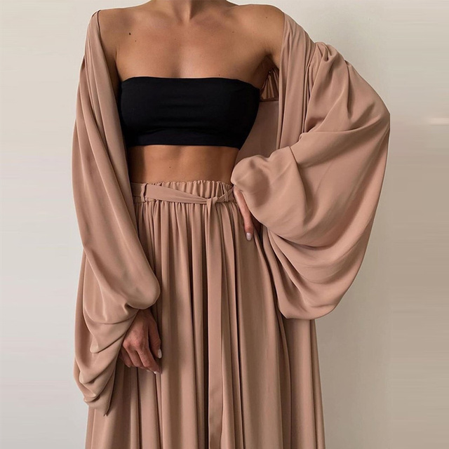 Soft Women Three Piece Set  Wrap Cardigan Top And High Waist Pants  Casual Simple  4