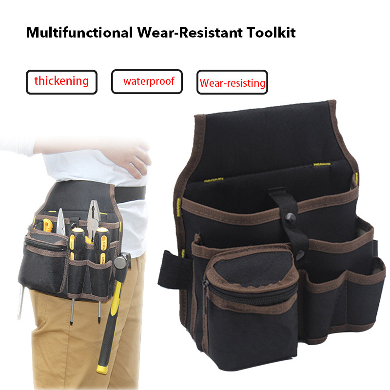 Junejour High Capacity Tool Bag Waist Pockets Electrician Tool Bag Oganizer Carrying Pouch Tools Bag Belt Waist Pocket Case