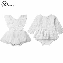 2019 New Newborn Infant Baby Girls Clothes Long/Short Sleeve Lace Romper Ruffle Tutu Dress Jumpsuit Plain Cotton Outfits 0-24M emmababy cute princess dress newborn toddler baby girls unicorn lace tutu fly sleeve romper jumpsuit fancy dress outfits costume