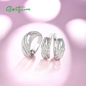 Image 4 - SANTUZZA תכשיטי סט לנשים טהור 925 סטרלינג כסף נוצץ לבן מעוקב Zirconia טבעת עגילי סט פשוט תכשיטים