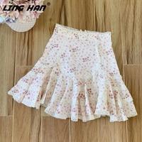 LINGHAN Designer Spring Summer Fashion 2020 Skirt Women High end Flower Print Lace Cotton Mini Skirts Elegant Holiday New