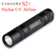 Convoy S2+ UV 365nm LED Flashlight 18650 Ultraviolet Torch Ultra Violet Light Black 3W Nichia 365nm UV LED In Side OP Reflector бомбер dc convoy black