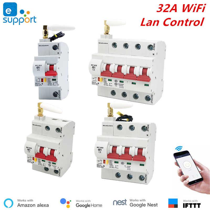 32A eWeLink WiFi interruptor automático sobrecarga protección contra cortocircuitos, trabajo con Amazon Alexa Google home