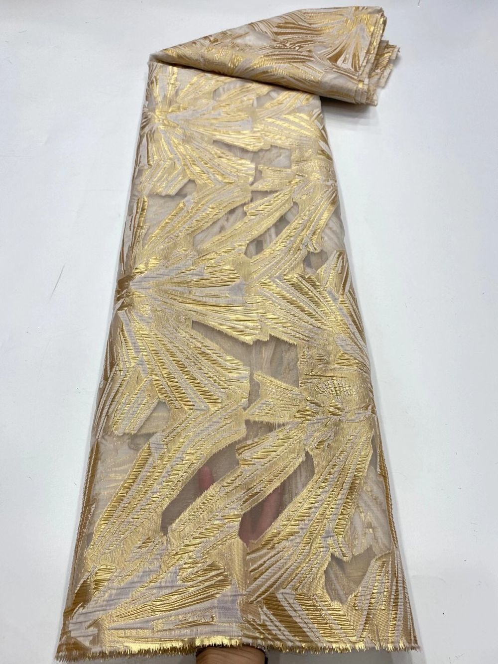 Gold Jacquard Stoff Afrikanische Brokat Tissus Fashion Nigerian Net Mesh Tuch Französisch Organza Spitze Material Für Nähen Kleid POZ20