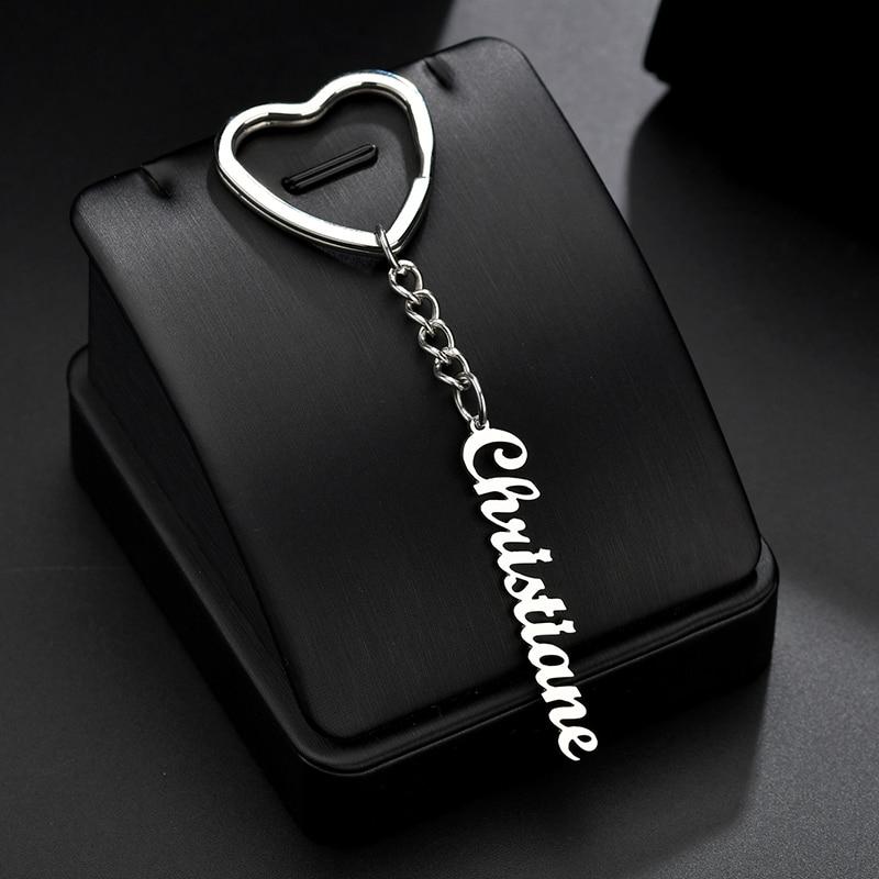 Custom Name Circle Heart Shape Keychain Handmade Personalized Anti lost Phone Number Nameplate Key Chain Women