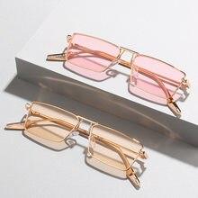 SO & EI Fashion occhiali da sole rettangolari piccoli donna Vintage Clear Candy Color Eyewear uomo montatura in metallo occhiali da sole tonalità UV400