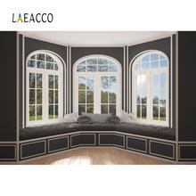 Laeacco Vintage Chic pared gris ventana cama cojín escena de primavera habitación Interior Foto fondo fotográfico estudio fotográfico