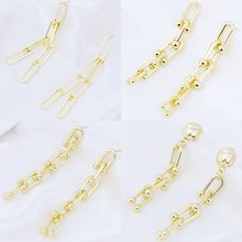 Hot selling jewelry with personality geometric cold gold plated simple earrings chain earrings for women party gifts wholesale