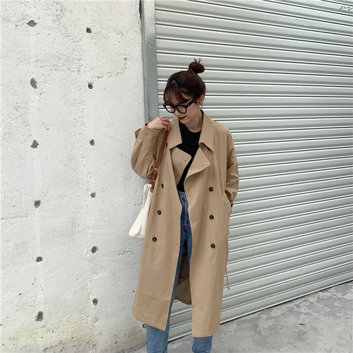Simple Classic Button Solid Loose All Match Turn Down Collar Rugular Basic Long Sleeve Female Women   Trench   Coats
