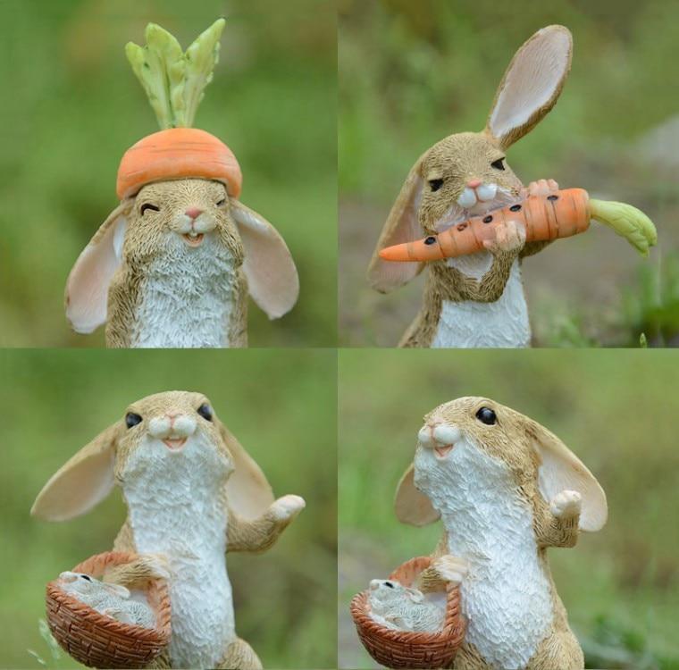 Cute Easter Rabbit Desk Decor Fairy Garden Bunny Animal Figurine Home Decor Valentine's Day Gift Miniature Garden Figurines