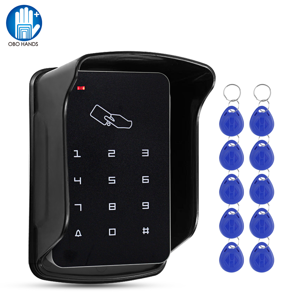 Standalone 125KHz Access Control Keypad RFID Keyboard Waterproof Cover Controller 10pcs Keyfobs For Door Access Control System