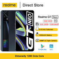 """Realme GT Neo 5G Smartphone 6.43"""" FHD+ 120Hz Super AMOLED Dimensity 1200 Octa Core Android Mobile Phones 50W Fast Charger 64MP 1"""