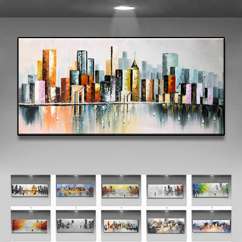 Wedding decoration Hand Painted Oil Painting On Canvas Modern Large size Abstract Art Home Decor Hang Picture city building