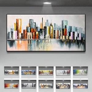 Image 1 - Decoración de la boda pintado a mano pintura al óleo sobre lienzo moderno de gran tamaño Arte Abstracto Decoración de casa colgar de la ciudad lluviosa construir