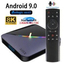 אנדרואיד 9.0 טלוויזיה תיבת Amlogic S905X3 4K A95X F3 8K Youtube Wifi 2.4G & 5.8G 4GB זיכרון RAM 64G Play IPTV תיבה עליונה