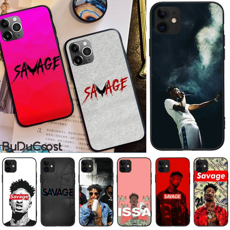 LJHYDFCNB Rapper <font><b>21</b></font> <font><b>Savage</b></font> Custom Photo Soft Phone Case For iphone 5C 5 6 6s plus 7 8 SE 7 8 plus X XR XS MAX 11 Pro Max Cover image