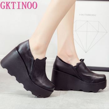 GKTINOO 2020 High Wedges Platform Pumps For Women Genuine Leather Heels Round Toe Pump Women's Shoes Zapatos Mujer - discount item  50% OFF Women's Shoes