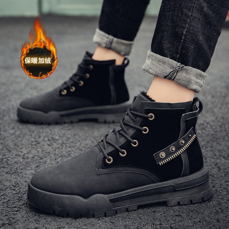 Promo Season 2020 High Help Increase Down Keep Warm Male Shoe England Leisure Time Snowfield Boots Cotton-padded Shoes Sneakers