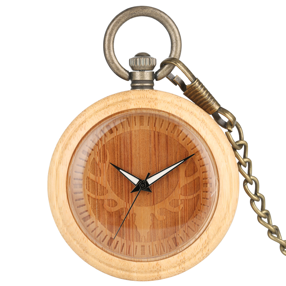 Elk Head Lightweight Bamboo Brown Pocket Watch For Women Concise Round Dial Necklace For Male Rough Chain Pendant Watch Zakhorlo