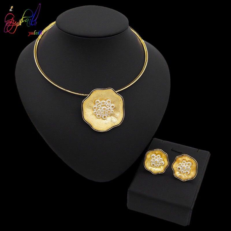 Yulaili mode Dubai ensembles de bijoux pour femmes fille déclaration de mariage italie or collier boucles d'oreilles ensemble bijoux de fête 2019