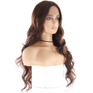 Image 3 - Medium Brown Synthetic Hair Lace Wigs For Women X TRESS 24inch Long Wavy Lace Front Wig Middle Part  Heat Resistant Fiber Hair