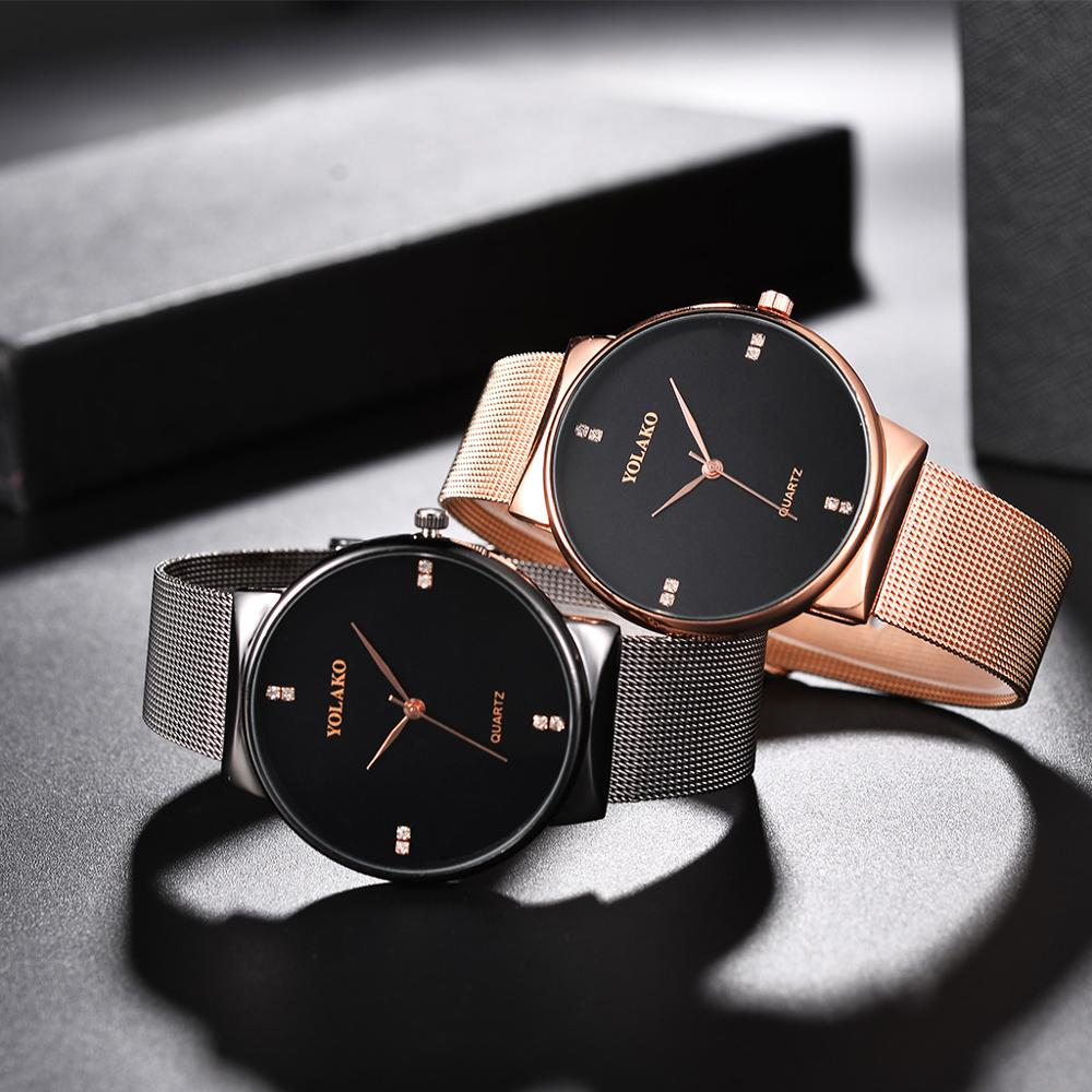 Top Brand YOLAKO Couple Watches For Lovers Fashion Luxury Diamond Stainless Steel Couple Watch For Lovers Reloj Mujer 2019 Clock