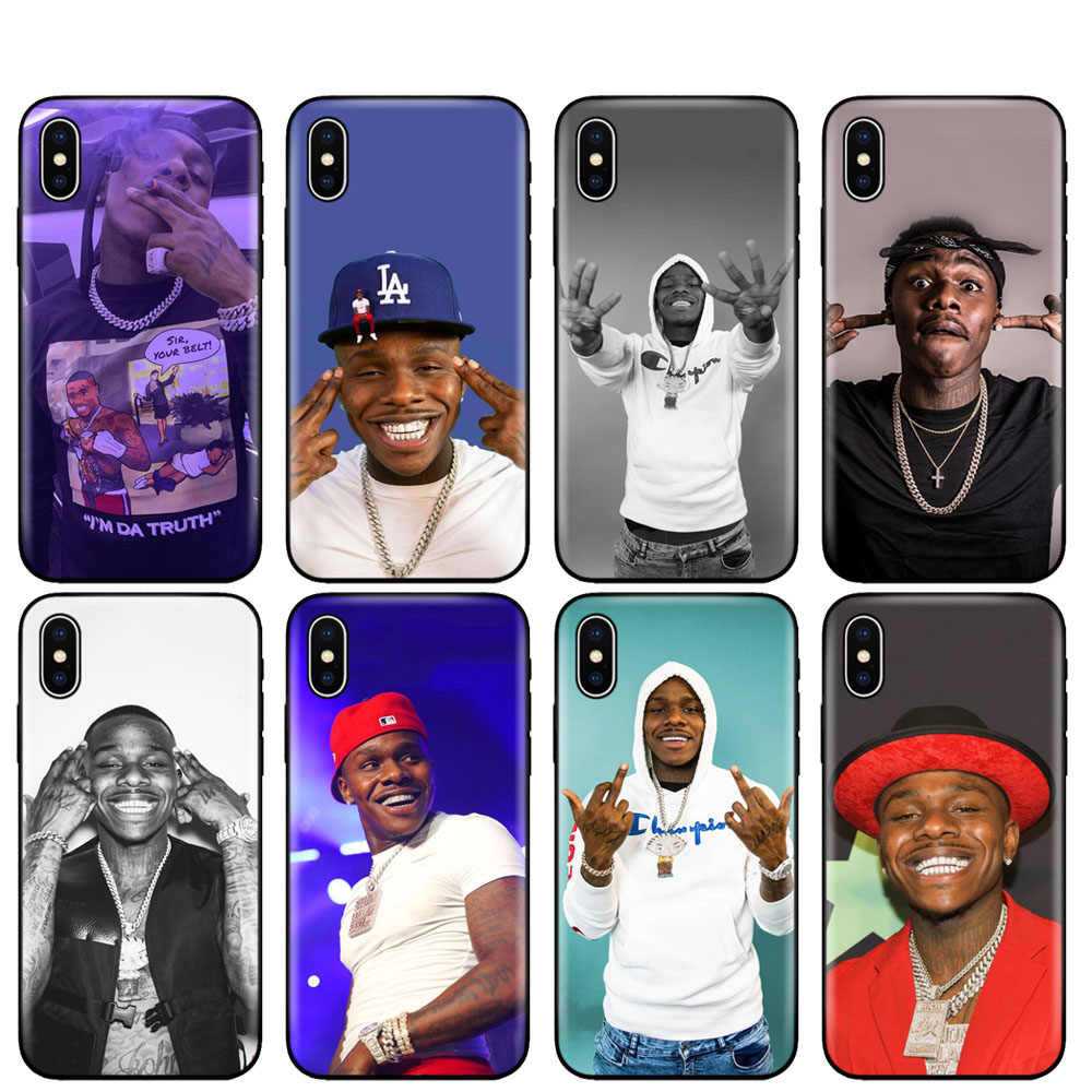 Zwart tpu case voor iphone 5 5s se 6 6s 7 8 plus x 10 silicon cover voor iphone XR XS 11 pro MAX case dababy da baby rapper