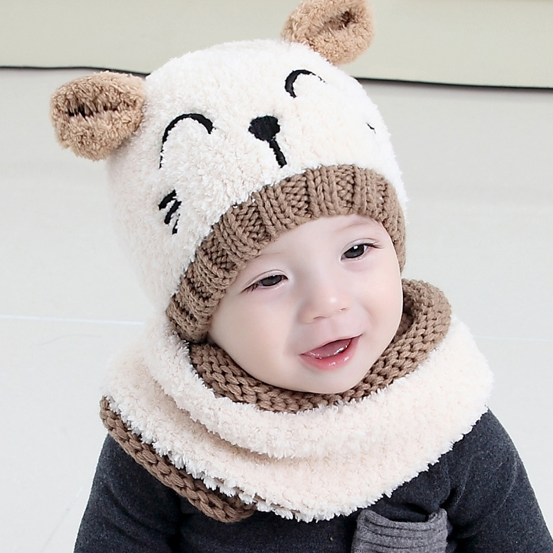 Korean Wool Kitten Cartoon Bear Baby Hat Ring Scarf Set Cute Winter Neck Head Warm  Two-piece Suit Free Ship