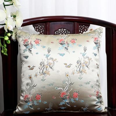 Чехол для подушки для автомобильного стула с цветами 40x40 см 45x45 см 50*50 60*60 китайские красочные диванные Декоративные Чехлы для подушек, шелковая атласная наволочка - Цвет: beige dragon