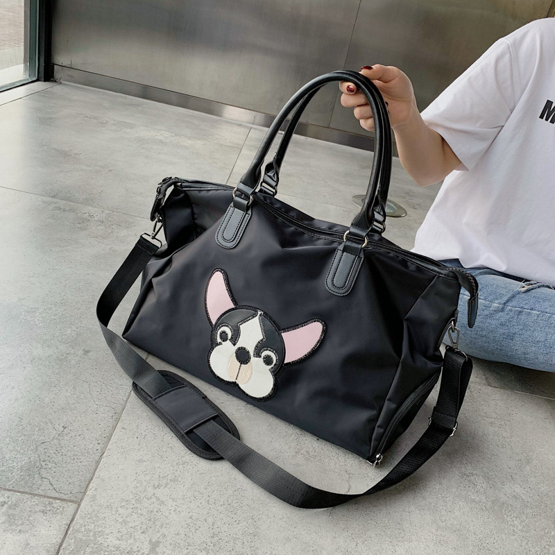 Fashion One-shoulder Travel Bag Large Capacity Handbag Simple Dog Pattern Luggage Bag Fitness Bag