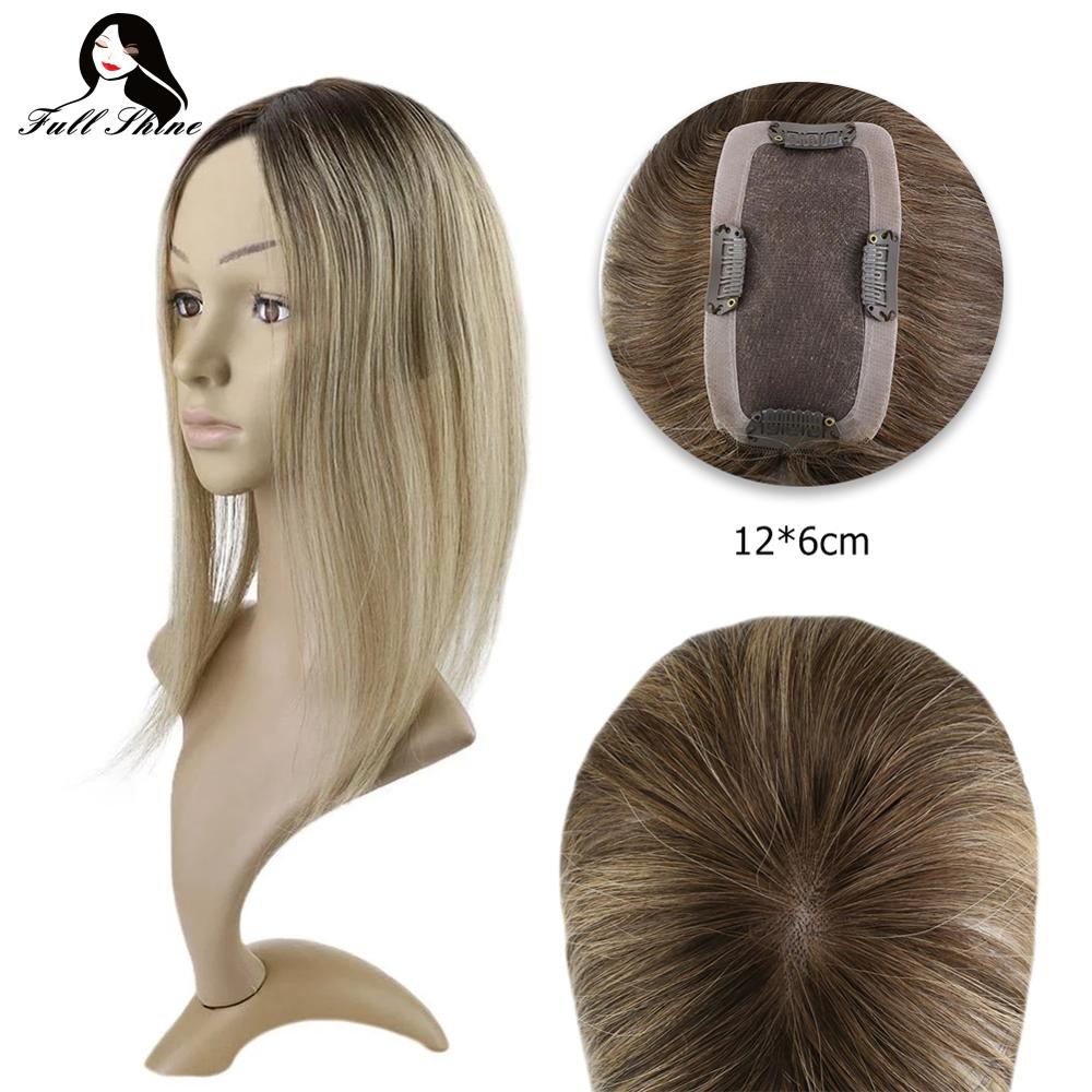 Full Shine Crown Topper 12*6cm Mono Hair Piece With Clip For Women Machine Made Remy Real Human Hair Toupee For Thinning Hair