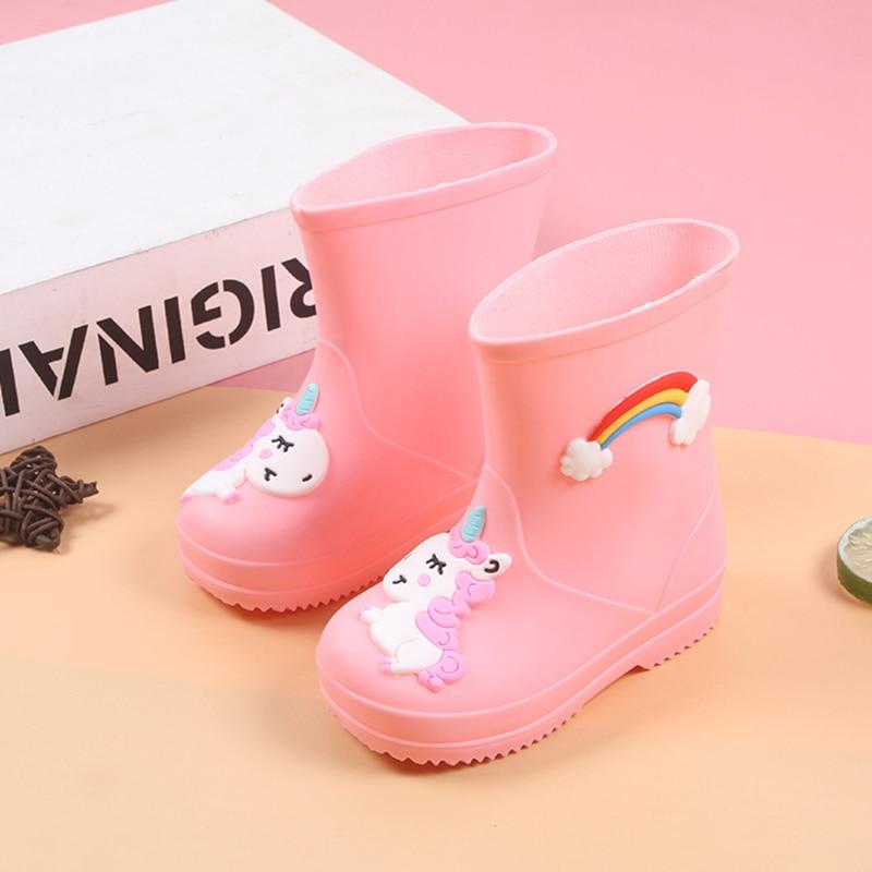 Rain Boots Kids For Boys Girls Cute Cartoon Unicorn RainBoots Waterproof Baby Non-slip Rubber Water Shoes Children Rainboots
