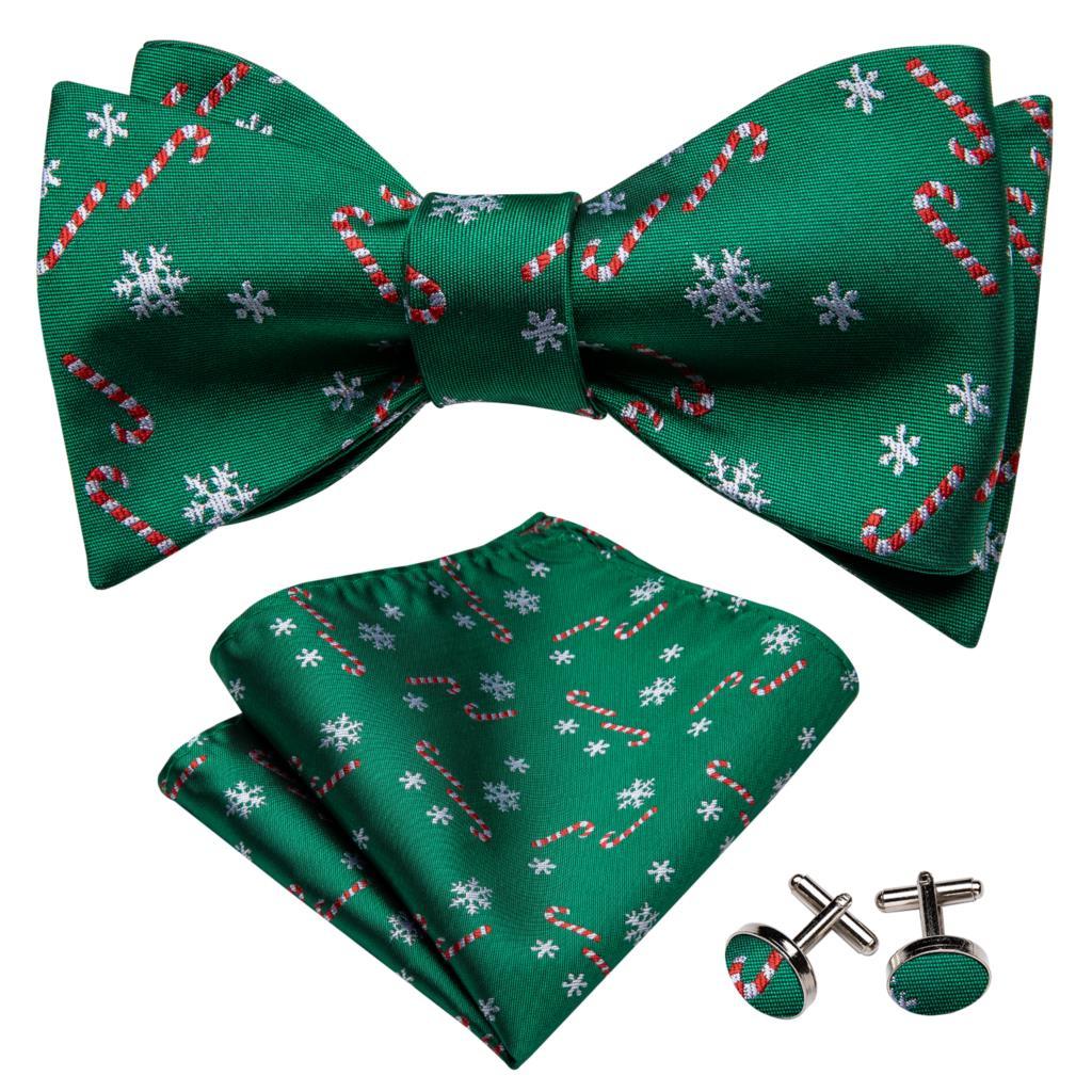 Мужской зеленый галстук на Рождество, шелковый галстук-бабочка, набор, платок, запонки, белый, снежный, Цветочный, банты, самозавязывающийся