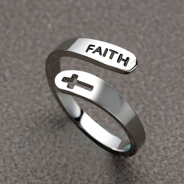2020 jewelry faith adjustable Rings&Stainless Steel Rings For Women vintage cross letter round on fingers Gifts for the new year 2