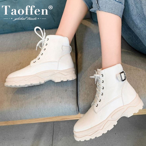 Taoffen Women New Fashion Plus Size 29-46 Warm Ankle Boots Thick Sole Pu Leather Casual Winter Shoes Woman Short Summer Footwear