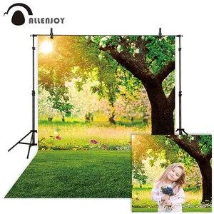 Image 1 - Allenjoy Fotografia Sfondo Foresta Sole Erba di Primavera Fiore Sfondo Photocall Photo Studio Prop