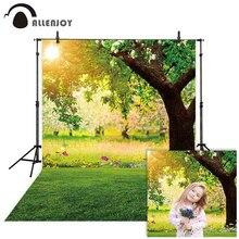 Allenjoy photographie toile de fond forêt soleil printemps herbe fleur fond photocall photo studio accessoire