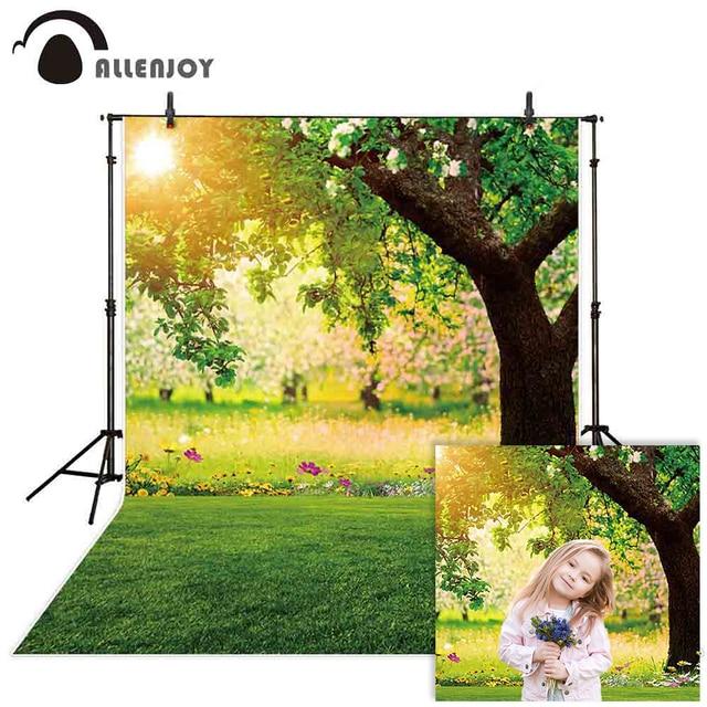 Allenjoy צילום רקע יער אביב שמש דשא פרח רקע שיחת וידאו תמונה סטודיו נכס