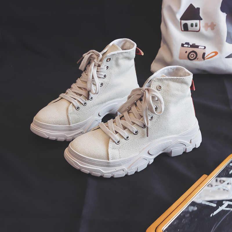 Frau Stiefel Hübscher 2019 Neue Trends Herbst Atmungsaktive Stiefel Sommer Student Schuhe Leinwand Botas Armee Grün Khaki Chunky Sole