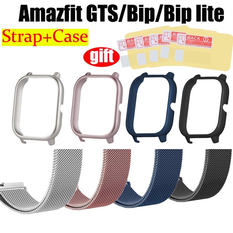 Ремешок для браслета Amazfit Bip Lite, металлический ремень 7 в 1 для Xiaomi Amazfit GTS, чехол из поликарбоната, Защитная пленка для экрана|Смарт-аксессуары| | АлиЭкспресс