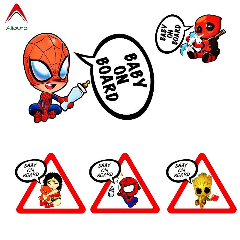 Aliauto Superheroes Baby On Board Reflective Car Stickers & Decals Vinyl Funny Accessories For Volkswagen Skoda Honda Lada Golf