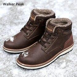 Homens botas de inverno com pele 2019 quente tornozelo botas de neve para homens sapatos de couro genuíno calçados masculinos moda borracha walker pico
