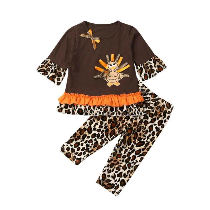 Thanksgiving Toddler Baby Girl Outfits Ruffle Tops Strap Turkey Dot Skirt Dress 2pcs Clothes Set