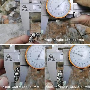 Image 3 - LINSION 925 Sterling Silver Details Skulls Chain Mens Biker Rock Punk Bracelet TA169
