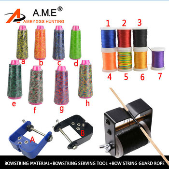 BowString Material+Bowstring Serving Tool +Bow String Guard Rope Archery Bow String Making Line 8 Colors Recurve compound bow 3 8 aluminum archery cable slide compound bow string splitter roller glide cable slide bow string separator for compound bow