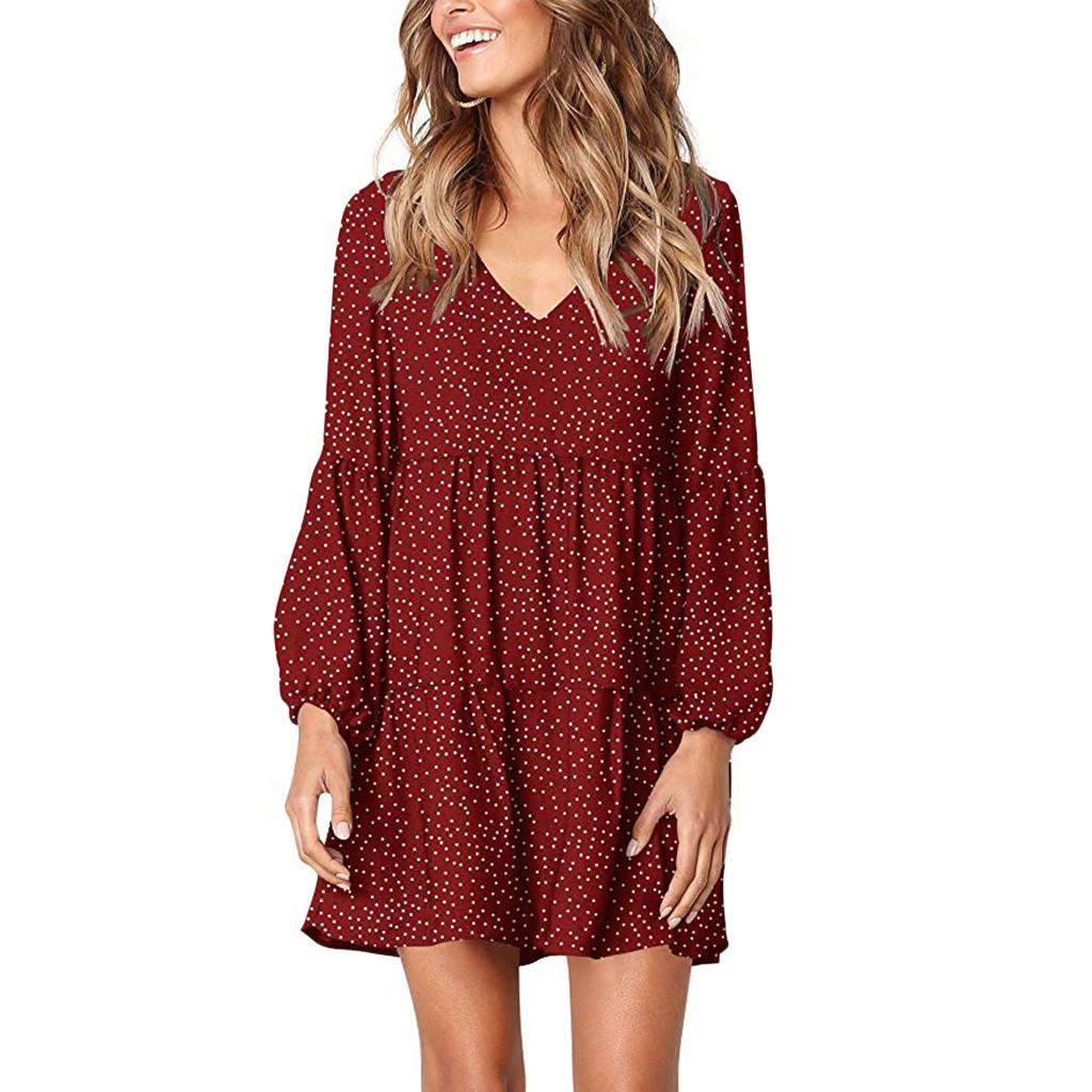 Women Dot V Neckline Knee length Dress Short Sleeve Ruffle Loose Swing Dress female casual straight dresses