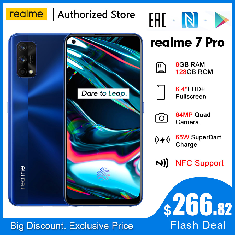 Realme 7 Pro RMX2170 NFC Global 6,4 ''FHD + 8 Гб 128 64MP 4500mAh Смартфон Snapdragon 720 г 65 Вт SuperDart Charge мобильный телефон