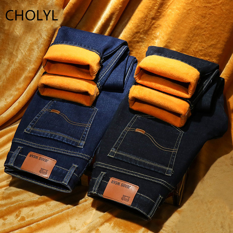 CHOLYL Warm   Jeans   Men winter High Quality Famous Brand velvet Fleece Straight   Jean   trousers flocking warm men's pants male 40
