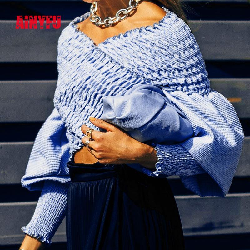 Ainyfu Fall V hals Solid Lange Bubble Mouw T shirt Vrouwen Streetwear Slanke Korte Kleding Femme Vouw Off Shoulder Crop dames Tops - 2